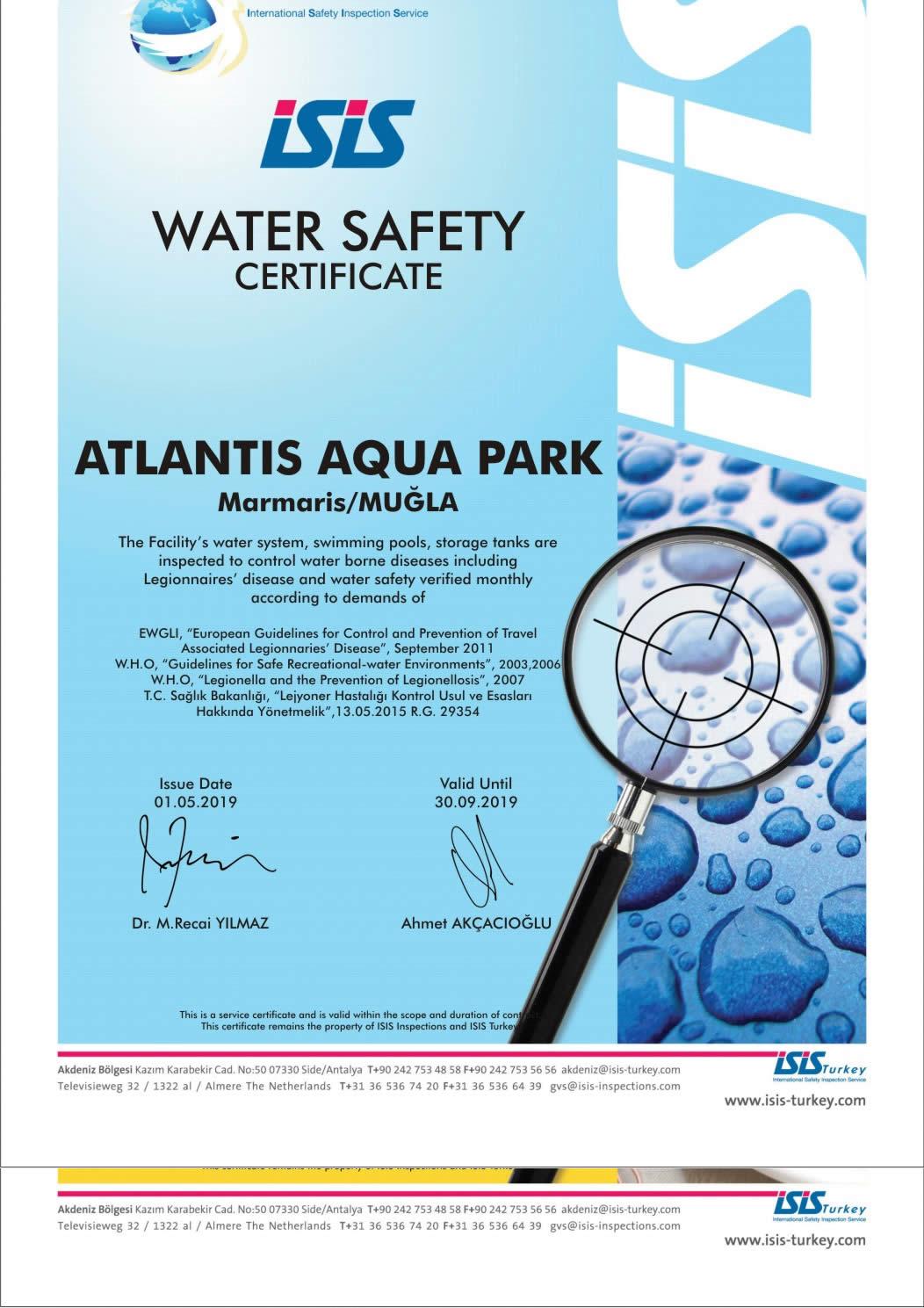 Su Güvenliği ve Hijyeni Sertifikası